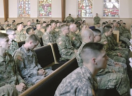 Fort Riley Soldiers listened to Michelle Corrao's story April 12 at the Morris Hill Chapel during the 2017 Sexual Assault Awareness and Prevention Month observance. Corrao talked about her life changing experience due to her sexual assault and how she helps people to overcome their own trauma.