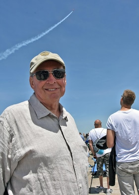 A military veteran poses for a photo at the 2017 Rhode Island National Guard Open House and Air Show held at Quonset Air National Guard Base, May 20-21, 2017. The open house allows the RING the opportunity to invite the community to enjoy meeting the Airmen and Soldiers of the RING and get treated to a world class air show.