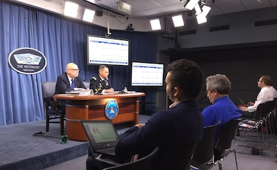 John P. Roth, performing duties as the DoD comptroller, and Army Lt. Gen. Anthony R. Ierardi, the Joint Staff's director of force structure, resources and assessment, brief reporters at the Pentagon on the president's fiscal year 2018 defense budget request, May 23, 2017. The pair said the request helps to rebuild readiness and balances the military between current operations and future needs. DoD photo by Jim Garamone