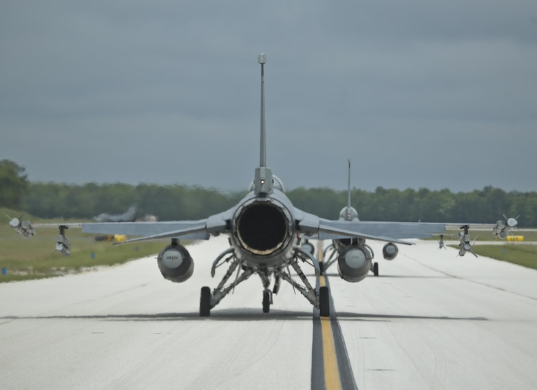 New Jersey Air National Guard F-16 Fighting Falcons from the 177th Fighter Wing taxi for take off during a three-day Aeropsace Control Alert CrossTell live-fly training exercise at Atlantic City Air National Guard Base, N.J., May 23, 2017. Representatives from the Air National Guard fighter wings, Civil Air Patrol, and U.S. Coast Guard rotary-wing air intercept units will conduct daily sorties from May 23-25 to hone their skills with tactical-level air-intercept procedures. (U.S. Air National Guard photo by Master Sgt. Matt Hecht/Released)