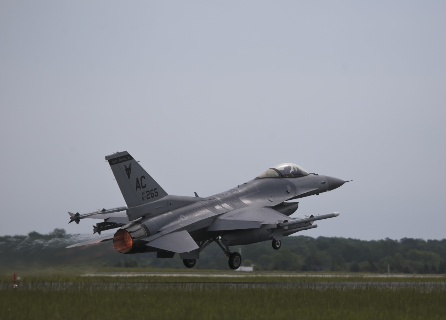 A New Jersey Air National Guard F-16C Fighting Falcon from the 177th Fighter Wing takes off for a flight during a three-day Aeropsace Control Alert CrossTell live-fly training exercise at Atlantic City Air National Guard Base, N.J., May 23, 2017. Representatives from the Air National Guard fighter wings, Civil Air Patrol, and U.S. Coast Guard rotary-wing air intercept units will conduct daily sorties from May 23-25 to hone their skills with tactical-level air-intercept procedures. (U.S. Air National Guard photo by Master Sgt. Matt Hecht/Released)