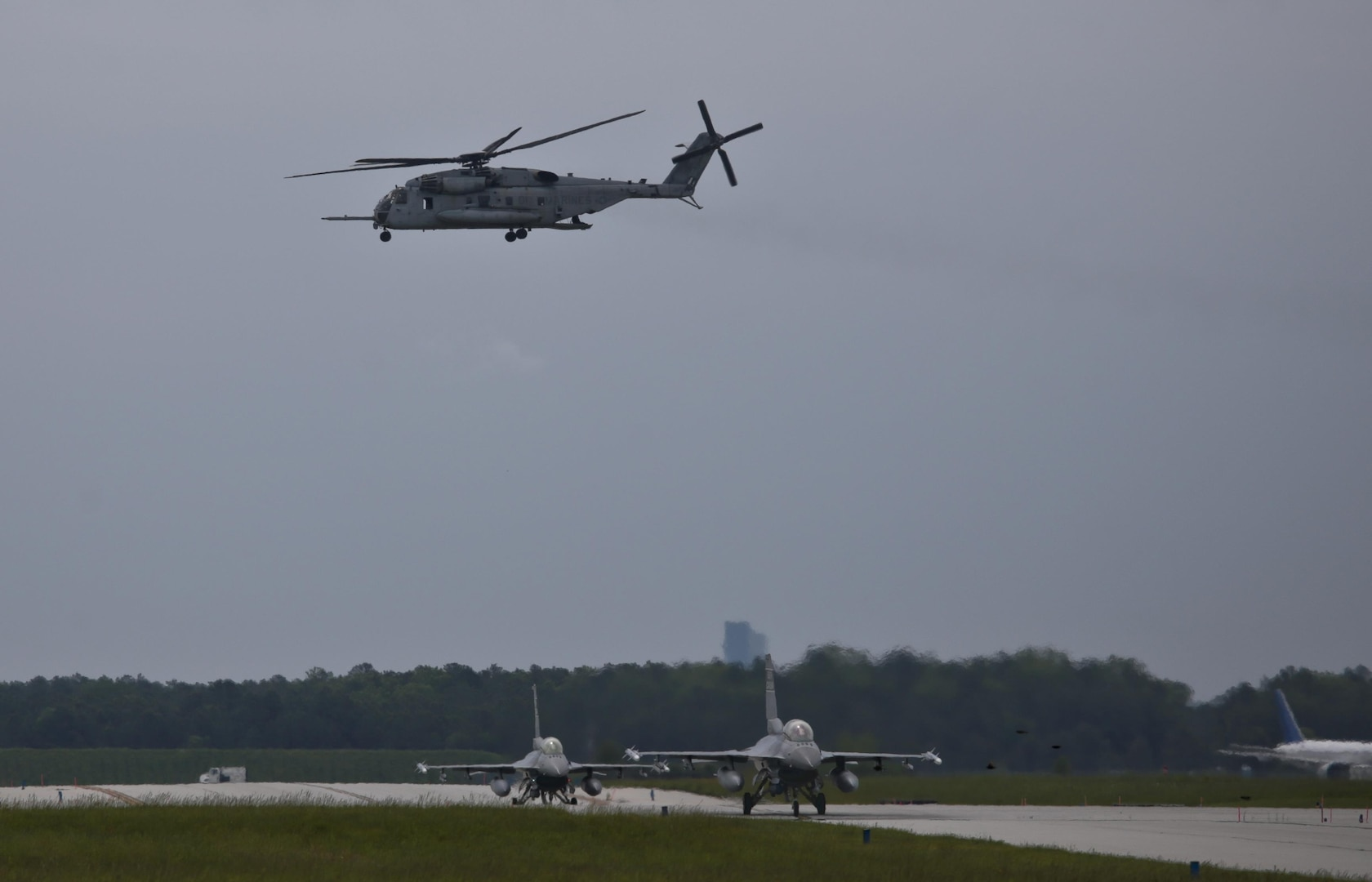South Carolina Air National Guard F-16D Fighting Falcons from the 169th Fighter Wing taxi for take off during a three-day Aeropsace Control Alert CrossTell live-fly training exercise at Atlantic City Air National Guard Base, N.J., May 23, 2017. Representatives from the Air National Guard fighter wings, Civil Air Patrol, and U.S. Coast Guard rotary-wing air intercept units will conduct daily sorties from May 23-25 to hone their skills with tactical-level air-intercept procedures. (U.S. Air National Guard photo by Master Sgt. Matt Hecht/Released)