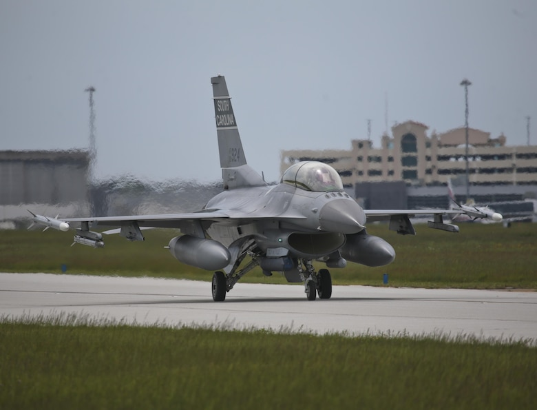 A South Carolina Air National Guard F-16D Fighting Falcon from the 169th Fighter Wing taxis for take off during a three-day Aeropsace Control Alert CrossTell live-fly training exercise at Atlantic City Air National Guard Base, N.J., May 23, 2017. Representatives from the Air National Guard fighter wings, Civil Air Patrol, and U.S. Coast Guard rotary-wing air intercept units will conduct daily sorties from May 23-25 to hone their skills with tactical-level air-intercept procedures. (U.S. Air National Guard photo by Master Sgt. Matt Hecht/Released)
