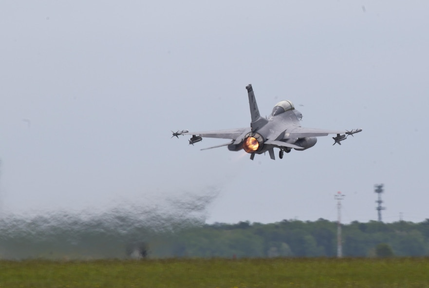 A New Jersey Air National Guard F-16D Fighting Falcon from the 177th Fighter Wing takes off for a flight during a three-day Aeropsace Control Alert CrossTell live-fly training exercise at Atlantic City Air National Guard Base, N.J., May 23, 2017. Representatives from the Air National Guard fighter wings, Civil Air Patrol, and U.S. Coast Guard rotary-wing air intercept units will conduct daily sorties from May 23-25 to hone their skills with tactical-level air-intercept procedures. (U.S. Air National Guard photo by Master Sgt. Matt Hecht/Released)