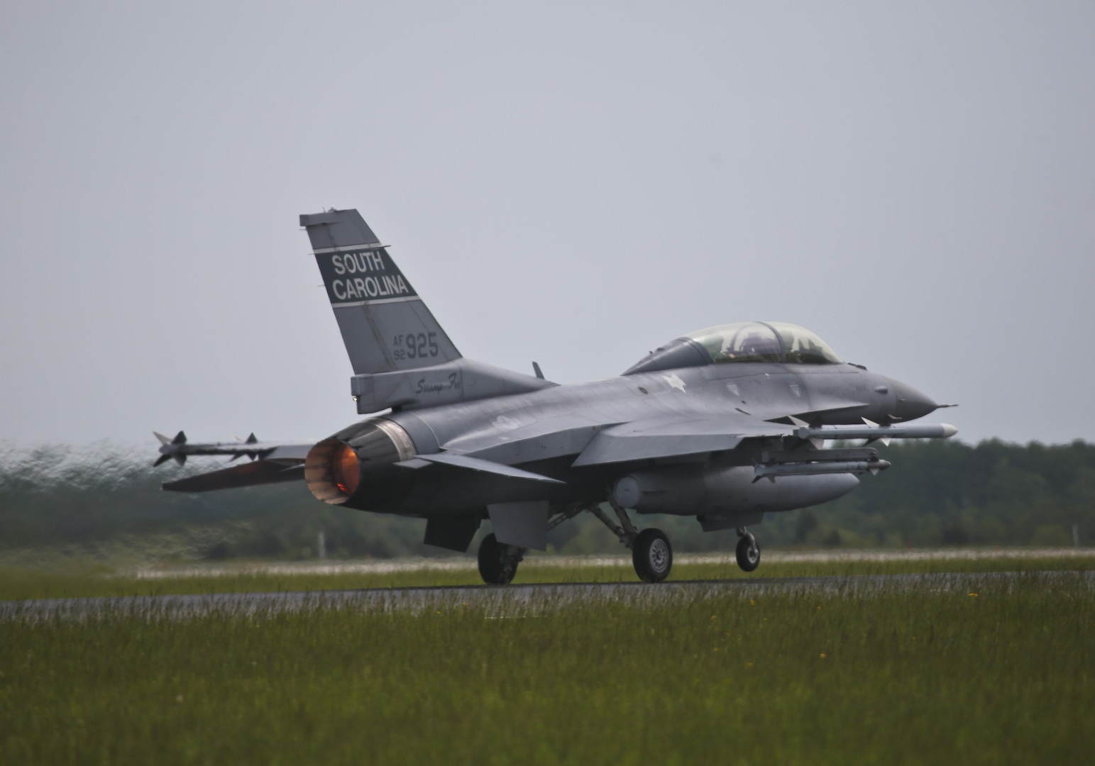 A South Carolina Air National Guard F-16D Fighting Falcon from the 169th Fighter Wing takes off for a flight during a three-day Aeropsace Control Alert CrossTell live-fly training exercise at Atlantic City Air National Guard Base, N.J., May 23, 2017. Representatives from the Air National Guard fighter wings, Civil Air Patrol, and U.S. Coast Guard rotary-wing air intercept units will conduct daily sorties from May 23-25 to hone their skills with tactical-level air-intercept procedures. (U.S. Air National Guard photo by Master Sgt. Matt Hecht/Released)