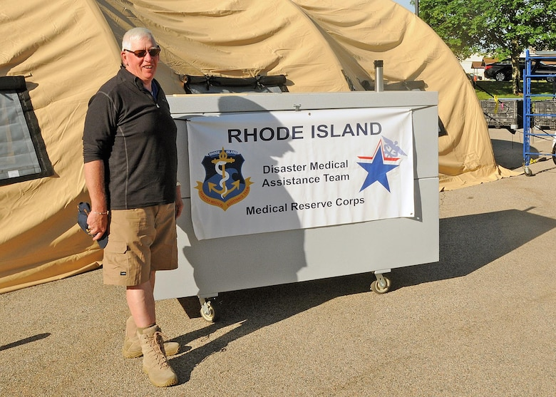 The Rhode Island Disaster Medical Assistance Team volunteers each year to assist the Rhode Island National Guard Open House and Air Show ensuring safety and well being of all of the attendees. Additionally, members of the 143d Airlift Wing Medical Group work with the DMAT team training for their real world mission.