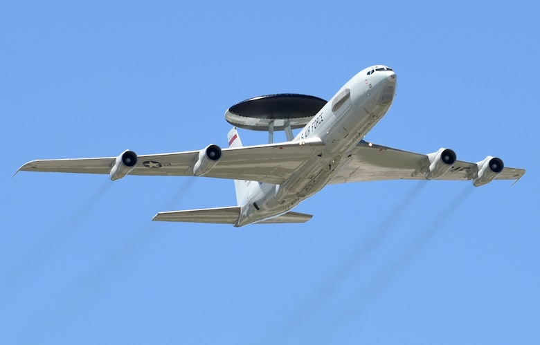 An E-3 Sentry from the 552nd Air Control Wing fleet flies over the blue Oklahoma skies May 20, 2017, during Tinker Air Force Base's Star Spangled Salute Air Show. The E-3 was part of the program featuring other Team Tinker aircraft such as the KC-135 Stratotanker and E-6B Mercury. (Air Force photo by April McDonald)