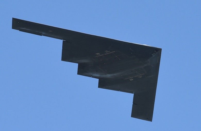 The B-2A Spirit flies over Tinker Air Force Base, Oklahoma, during Star Spangled Salute May 20, 2017. (Air Force photo by April McDonald)