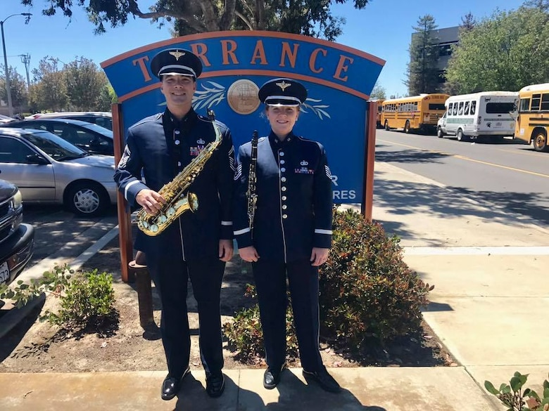 SMSgt Jake McCray and TSgt Sara Reese are spending their week touring the state of California augmenting the USAF Band of the Golden West, including marching yesterday in the the 57th annual Armed Forces Day Parade in Torrance, California. (U.S. Air Force photos/SrA Alaina Shaw/released)