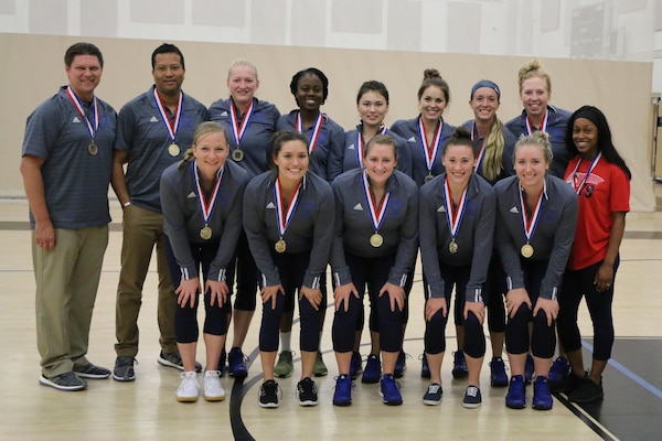 Air Force captures gold during the 2017 Armed Forces Women's Volleyball Championship at Naval Station Mayport, Florida on 20 May, after going 5-1 against the Navy and Army.