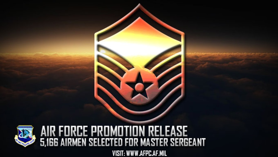 Congratulations to the 5,166 selected for promotion to master sergeant! The list is available on myPers and the Air Force Portal and Airmen can also access their score notices on the virtual Military Personnel Flight via the secure applications page. (U.S. Air Force graphic by Staff Sgt. Alexx Pons)