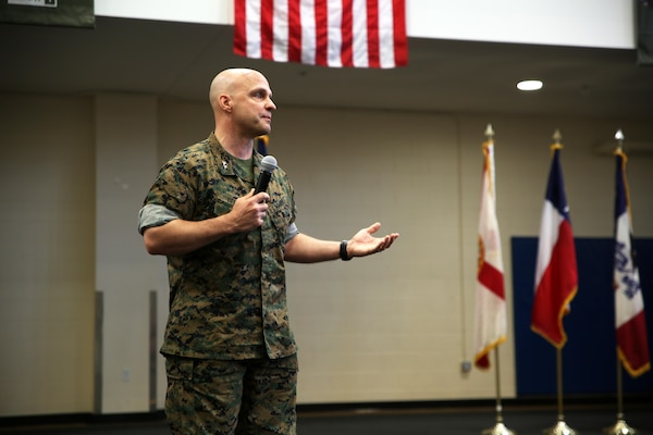Maj. Gen. David G. Bellon, the incoming commander for U.S. Marine Corps Forces, South, speaks during the unit's change of command ceremony in Doral, Florida, May 22, 2017. Brig. Gen. Kevin M. Iiams relinquished command of MARFORSOUTH to Bellon after serving as the commander since January 2016. (U.S. Marine Corps photo by Gunnery Sgt. Zachary Dyer)