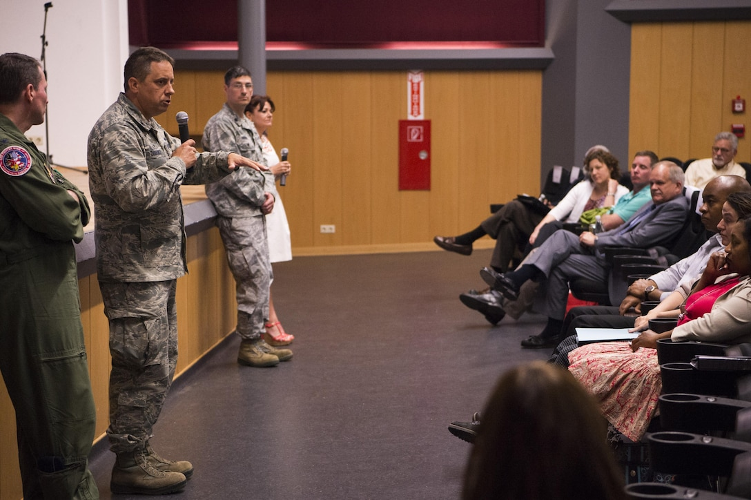 U.S. Air Force Col. Steven Zubowicz, 52nd Mission Support Group commander, addresses a town hall meeting at the base theater here, May 23, 2017. Base leadership used the meeting to answer questions, take suggestions and provide information about the Bitburg Middle-High School Barons' move to Spangdahlem Air Base as the Spangdahlem Sentinels. (U.S. Air Force photo by Airman 1st Class Preston Cherry)
