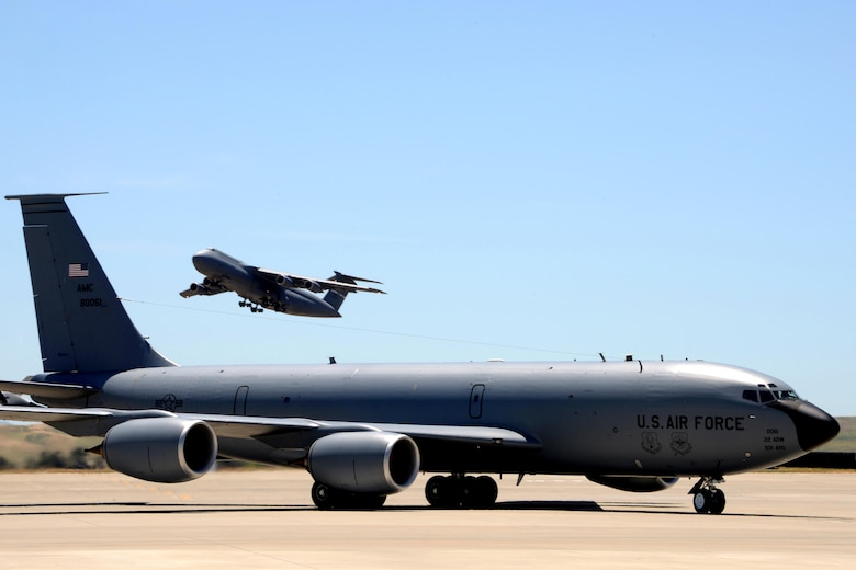 A KC-135 Stratotanker assigned to the 22nd Air Refueling Wing at McConnell Air Force Base, Kan., taxis to a parking spot May 18, 2017, at Travis AFB, Calif. The KC-135 was part of a group of eight aircraft that flew to Travis to avoid extreme weather in the Midwest. (U.S. Air Force photo/Tech. Sgt. James Hodgman)