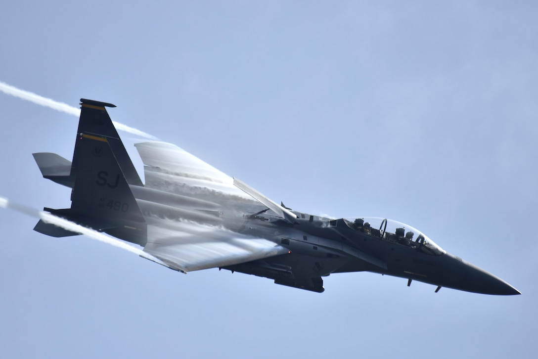 An F-15E Strike Eagle streaks through the sky while performing for those in attendance during the Wings Over Wayne Air Show, May 21, 2017, at Seymour Johnson Air Force Base, N.C. (U.S. Air Force photo/Airman 1st Class Christopher Maldonado)
