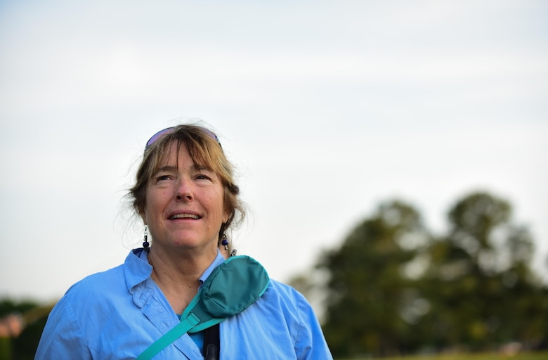 Karen Terwilliger, a local environmental expert, looks out to brackish water shores ideal for Diamondback Terrapin Turtle reproduction at Joint Base Langley-Eustis, Va., May 10, 2017. Langley Air Force Base has restored 3,000 linear feet of its shoreline and plans to restore an additional 329 feet this year, providing natural flood prevention, and an added benefit of more area for the turtles to lay eggs. (U.S. Air Force photo by Staff Sgt. Natasha Stannard)