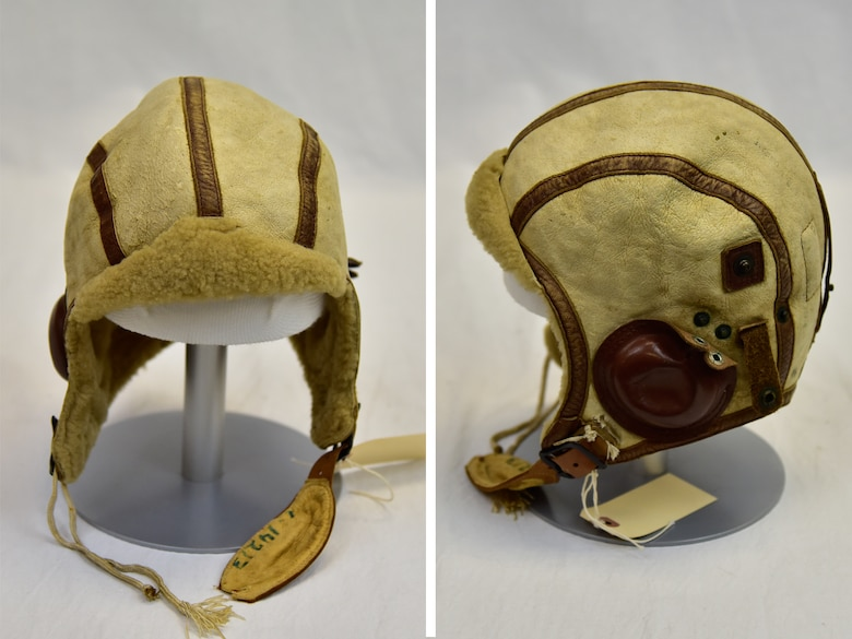 National Museum of the USAF-Plans call for this early B-5 flight helmet to be displayed near the Memphis Belle™ as part of the new strategic bombardment exhibit in the WWII Gallery, which opens to the public on May 17, 2018. Some of the Eighth Air Force bomber crewmen wore these in 1942 and early 1943. (U.S. Air Force photo by Ken LaRock)