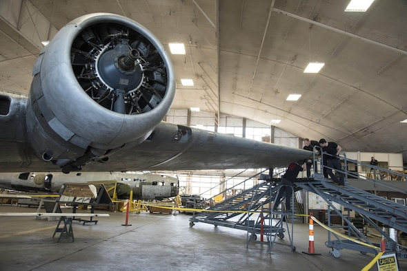 DAYTON, Ohio -- Restoration crews from the National Museum of the U.S. Air Force install the final wing-tip on the Boeing B-17F Memphis Belle™ on March 22, 2017. The famed B-17F Memphis Belle™ and its crew became iconic symbols of the heavy bomber crews and support personnel who helped defeat Nazi Germany. The Memphis Belle was the first US Army Air Forces heavy bomber to return to the US after completing 25 combat missions over Europe. The USAAF chose the Memphis Belle for a highly-publicized war bond tour from June-August 1943, and its crew was celebrated as national heroes. The aircraft and crew were also the subject of two widely-seen Hollywood movies (one in 1944 and another in 1990). The Memphis Belle will be placed on public display at the museum on May 17, 2018. (U.S. Air Force photo by Ken LaRock)