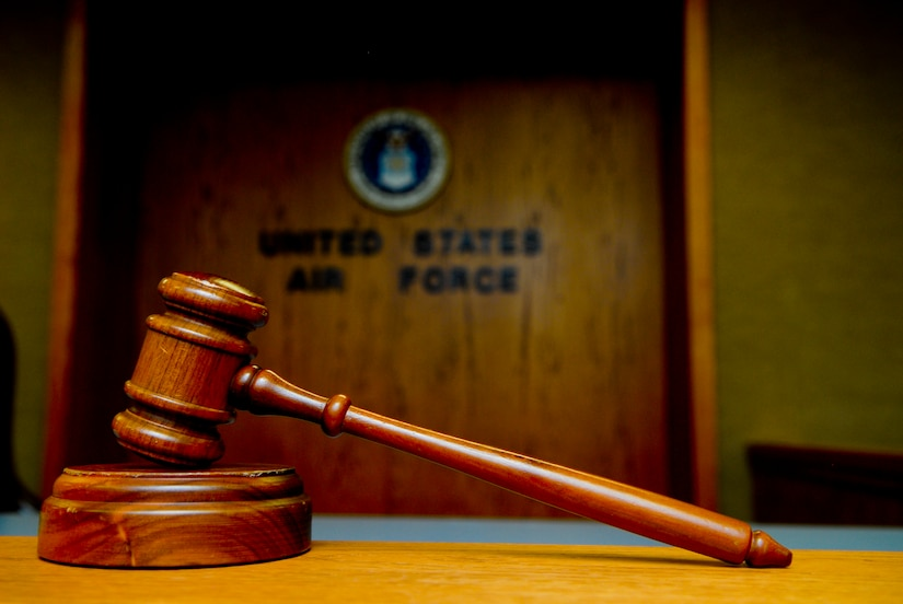 A gavel sits in the Luke Air Force Base courtroom Feb. 19. The legal office at Luke handles a multitude of cases involving adverse consequences and well as helping military personnel with their legal issues. (U.S. Air Force photo/Airman 1st Class Grace Lee)