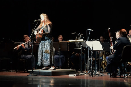 "Ms. Beth Nielsen Chapman, a singer-songwriter from Nashville, Tennessee sings her song ""There is no Darkness,"" accompanied by the Heritage Winds Quintet.  The piece was performed as a part of the NASA-Langley 100th Anniversary Tribute, held at the Ferguson Center for the Arts, Newport News, VA."