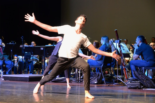 "Dancers from Radford University perform a special dance tribute, ""Remember the Future,"" as part of the NASA-Langley 100th Anniversary Tribute, held recently at the Ferguson Center for the Arts, Newport News, VA."