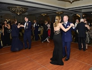 Attendees share a dance at the Western New York Armed Forces ball at Salvatore's Italian Gardens, Depew, N.Y., May 13, 2017. The ball is the final event in a week-long observance comprised of various ceremonies and happenings throughout the local area meant to honor and remember those who have or are currently serving in the United States Military. (U.S. Air Force photo by Tech. Sgt. Stephanie Sawyer)
