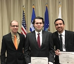 "Defense Logistics Agency Office of Operations Research and Resource Analysis analysts Daniel Freas, William ""Jack"" Barrow, and Alex Diaz, from left, graduated from the Army Logistics University's Operations Research and Resource Analysis Military Applications course at Fort Lee, Virginia, May 5, 2017."
