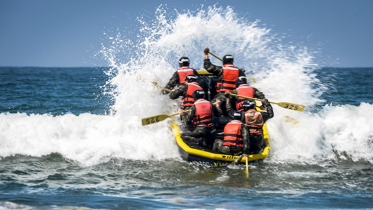 Navy basic underwater demolition/SEAL students conduct inflatable boat small surf passage training at the Naval Special Warfare Basic Training Command in Coronado, Calif., May 22, 2017. Navy photo by Petty Officer 1st Class Lawrence Davis