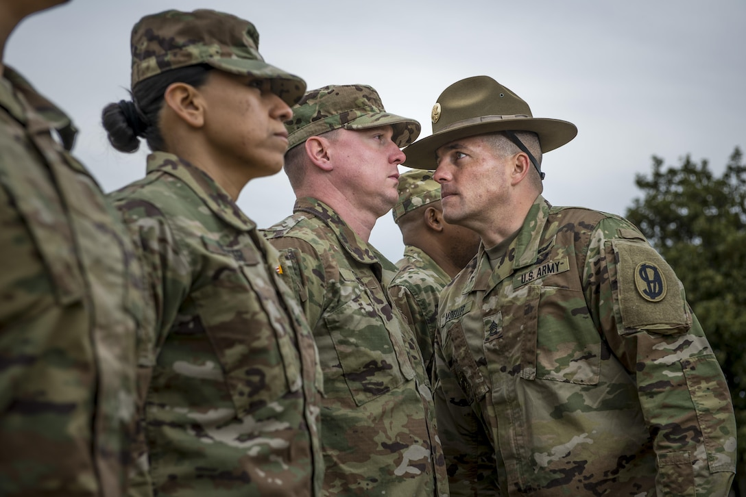 Sgt. 1st Class Joshua Moeller, U.S. Army Reserve drill instructor and the 2016 U.S. Army Noncommissioned Officer of the Year, participates in a marketing photo shoot organized by the Office of the Chief of Army Reserve at Fort Belvoir, Virginia, Feb. 14, to promote the U.S. Army Reserve. (U.S. Army Reserve photo by Master Sgt. Michel Sauret)