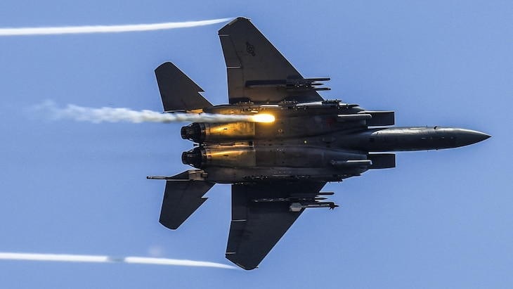 An F-15E Strike Eagle releases flares as part of a combined arms demonstration during the Wings Over Wayne Air Show at Seymour Johnson Air Force Base, N.C., May 21, 2017. Air Force photo by Staff Sgt. Brittain Crolley