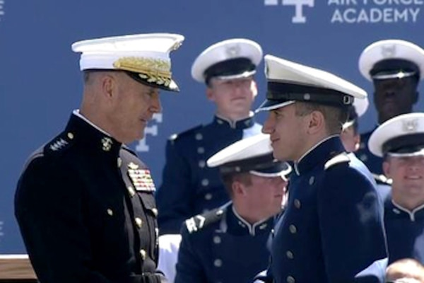 Marine Corps Gen. Joe Dunford, chairman of the Joint Chiefs of Staff, gives the commencement speech at the U.S. Air Force Academy graduation, May 24, 2017. Video Screen Shot