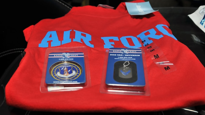 Air Force memorabilia sits on display during the Special Olympics Mississippi 2017 Summer Games May 20, 2017, on Keesler Air Force Base, Miss. Airman 1st Class Sierra Ward and Airman Basic Tyshon Singletary, 335th Training Squadron students, gave their athletes gifts to remember his first time competing in the state games on base. (U.S. Air Force photo by Senior Airman Jenay Randolph)
