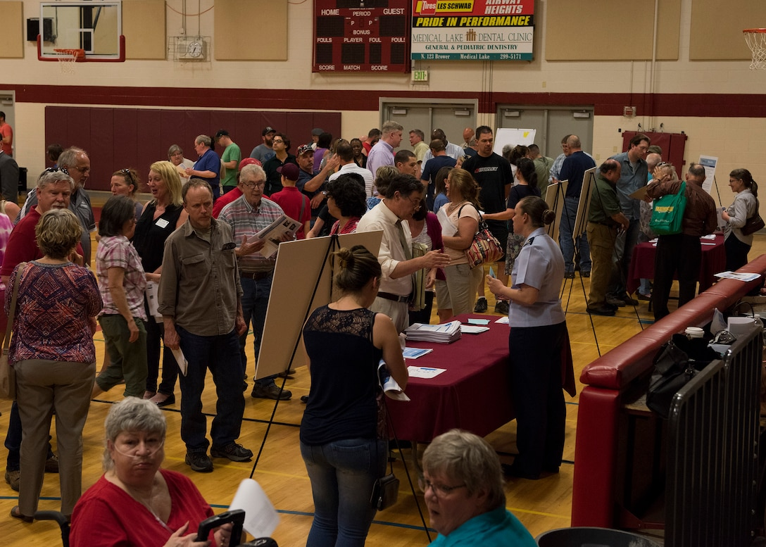 Local residents seek additional information about groundwater contamination at booths manned by local health, science and administrative authorities at Medical Lake High School, Medical Lake, Wash. May 23, 2017. Fairchild Air Force Base leadership and environmental specialists, in an act of transparency to the local community, arranged a public meeting and information-sharing session to help inform residents.
