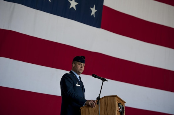 U.S. Air Force Col. David G. Shoemaker, 8th Fighter Wing commander, speaks during the change of command ceremony at Kunsan Air Base, Republic of Korea, May 25, 2017. The ceremony highlights the relinquishment of command from one commander to the next. (U.S. Air Force photo by Senior Airman Colville McFee/Released)