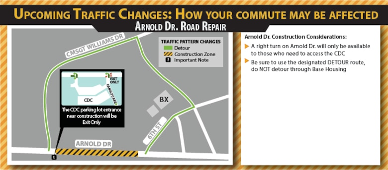 The base undergoes road construction annually to ensure safety and prevent driving hazards. CMSgt Williams Drive and Arnold Drive will be receiving an upgrade throughout the next few months. (U.S. Air Force graphic by Crystal Abbot)