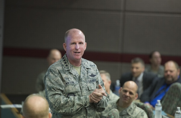 Gen. Stephen Wilson, Air Force vice chief of staff, speaks with members of the Air Force Life Cycle Management Center's Intelligence, Surveillance and Reconnaissance and Special Operations Forces Directorate, May 10, 2017, at Wright-Patterson Air Force Base, Ohio. Wilson was briefed on new equipment being developed for Battlefield Airmen. (U.S. Air Force photo by R.J. Oriez)