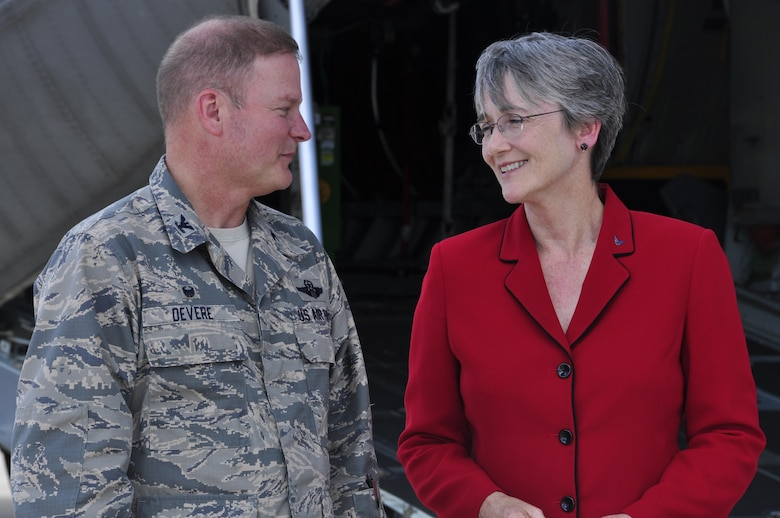 Col. James DeVere, 302nd Airlift Wing commander, talks with Secretary of the Air Force Heather Wilson on the Peterson Air Force Base, Colo. flightline during her visit, May 22, 2017.  DeVere briefed Wilson on several of the Reserve wing's missions before the secretary had the opportunity to view up-close a portable U.S. Forest Service Modular Airborne Fire Fighting System used during 302nd AW C-130 MAFFS missions and meet with Reserve Citizen Airmen from the wing's 34th Aeromedical Evacuation Squadron, 302nd Security Forces Squadron and 302nd Operations Group. Peterson AFB was the first official base visit for Wilson as Secretary of the Air Force. (U.S. Air Force photo/Staff Sgt. Frank Casciotta)