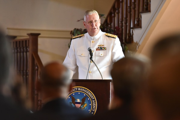 Navy Vice Adm. David H. Lewis addresses the audience for the first time as director of the Defense Contract Management Agency. Lewis assumed command of the agency at a Fort Lee, Virginia, ceremony May 24.
