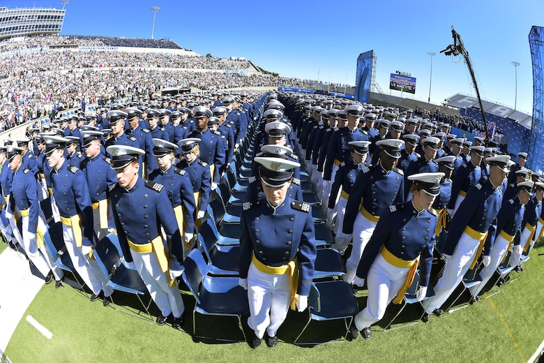 The Class of 2017 at the U.S. Air Force Academy gets ready to take their seats in Falcon Stadium before their graduation ceremony begins, May 24, 2017. (U.S. Air Force photo/Bill Evans)