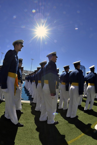 The U.S. Air Force Academy's Class of 2017 marches under the Sun to their seats in Falcon Stadium before their graduation ceremony begins, May 24, 2017. (U.S. Air Force photo/Bill Evans)