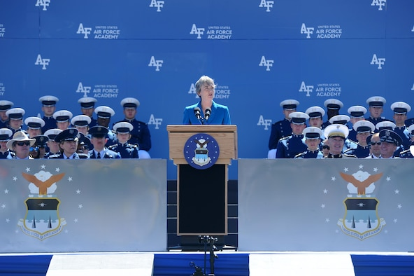 Secretary of the Air Force Heather Wilson speaks to the U.S. Air Force Academy's Class of 2017, May 24, 2017, in Falcon Stadium. Wilson encouraged the newly-commissioned officers to thank their families, friends, and the Academy's faculty and staff for helping them reach graduation day. (U.S. Air Force photo/Tech. Sgt. Delos Reyes)