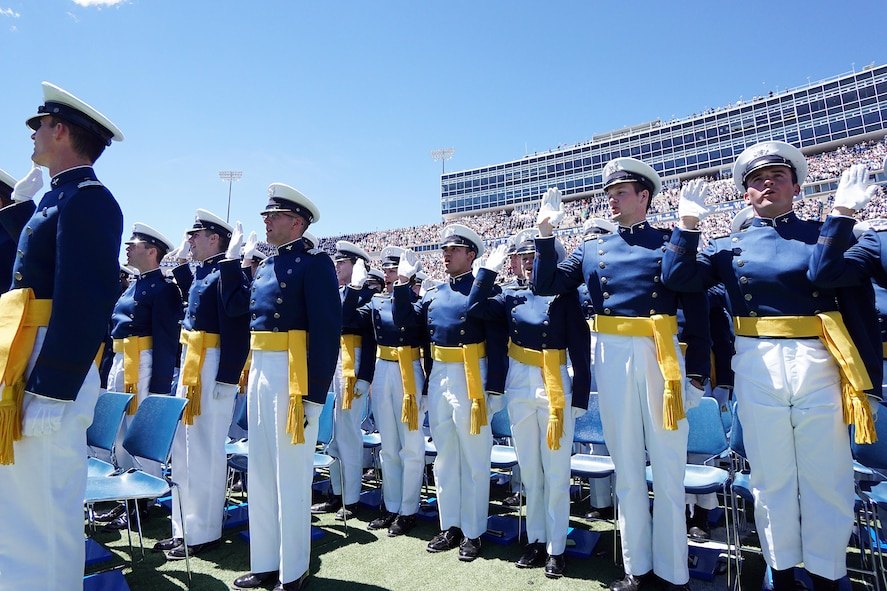 The Class of 2017 at the U.S. Air Force Academy takes the Oath of Office as newly-commissioned second lieutenant in the U.S. Air Force, May 24, 2017, at Falcon Stadium. (U.S. Air Force photo/Jason Gutierrez)