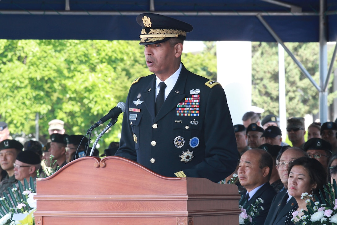 Army Gen. Vincent K. Brooks, commander of United Nations Command, Combined Forces Command and U.S. Forces Korea, speaks at a Memorial Day ceremony near Seoul