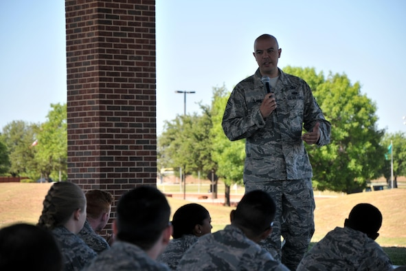 U.S. Air Force Senior Master Sgt. David Clark, Wing Staff Agency first sergeant, shares a personal story with students for the Real Talks program on Goodfellow Air Force Base, Texas, May 25, 2017. Clark shared his story to emphasize that everyone makes mistakes. Real Talks are designed to encourage Airmen to discuss important topics such as alcohol, sexual assault and violence. (U.S. Air Force photo by Airman 1st Class Randall Moose/Released)