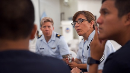Senior Master Sgt. Felicita Sueiras, Physiology Program Superintendent, Joint Base San Antonio-Randolph, Texas, participates in a discussion with Peruvian medical personnel during a subject matter expert exchange in Lima, Peru, May 17, 2017.  The goal of the global health exchange is to share best practices, enhance relationships, and build partnership capacities. (U.S. Air Force photo by Danny Rangel)