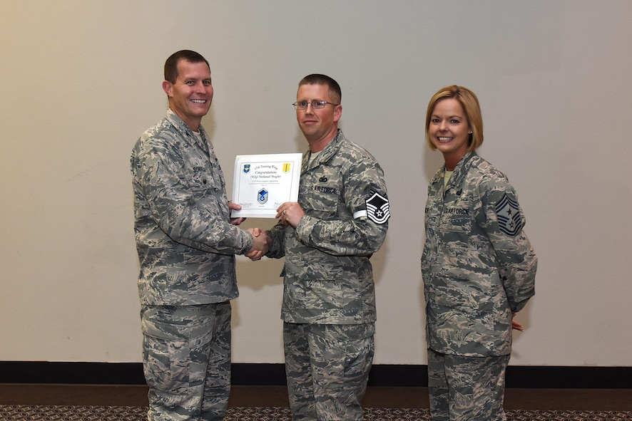 U.S. Air Force Master Sgt. select Nathanael Meagher, 17th Force Support Squadron, receives his certificate of selection from Col. Jeffrey Sorrell, 17th Training Wing vice commander, and Chief Master Sergeant Bobbie Riensche, 17th Training Wing command chief, during the Master Sergeant Release Party at the Event Center on Goodfellow Air Force Base, Texas, May 24, 2017.