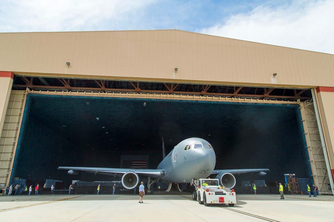 A KC-46A Pegasus is moved into the Benefield Anechoic Facility May 5. The BAF at Edwards is the largest anechoic chamber in the world and can fit most aircraft inside. (U.S. Air Force photo by Christopher Okula)
