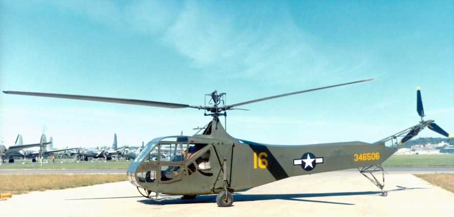 R-4:  Sikorsky R-4 display, National Museum of the Air Force. (U.S. Air Force Photo)