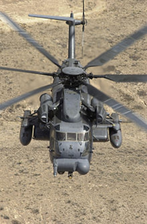 An MH-53 Pave Low III flies on a training mission in New Mexico. (U.S. Air Force photo)