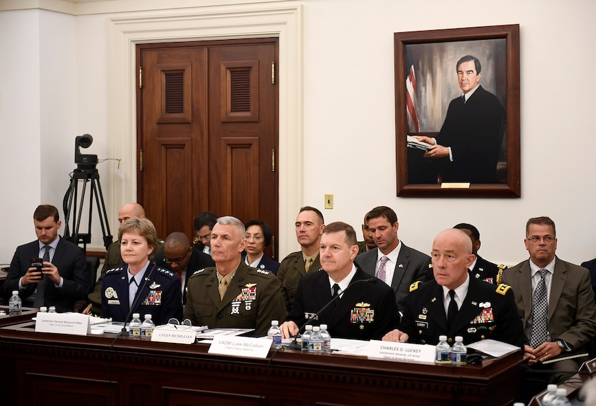 Lt. Gen. Maryanne Miller, Chief of the Air Force Reserve, testifies before the House Appropriations Committee on the National Guard and Reserve budget during a hearing May 24, 2017, in Washington, D.C.  With Miller were Lt. Gen. McMillan, Commander of the Marine Corps Forces Reserve; Vice Adm. Luke McCollum, Chief of the Navy Reserve; and Lt. Gen. Charles Luckey, Chief of the Army Reserve.  (U.S. Air Force photo/Scott M. Ash)